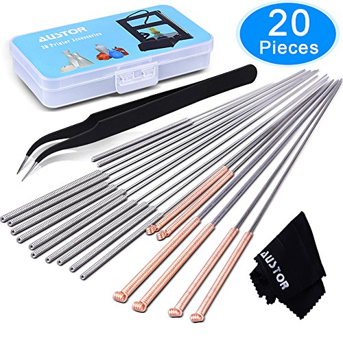 AUSTOR 20 Pieces 3D Printer Nozzle Cleaning Kit, 18 Pieces Cleaning Needles 0.2mm, 0.4mm, 0.6mm, 0.8mm, 1.0mm Nozzle Cleaner for 3D Printer (Bonus: 1 Tweezers and 1 Cleaning Cloth)