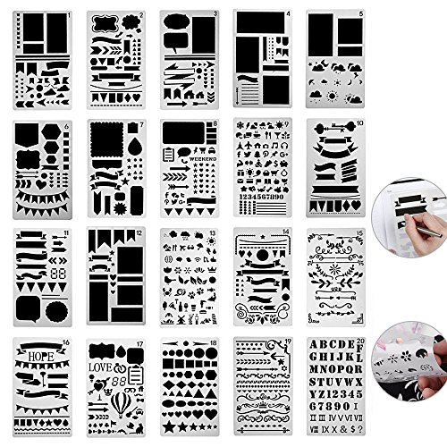 Scrapbook Design Templates (20 Pack Bullet Journal Stencil Plastic Planner Supplies Painting Shapes Letter Journaling Set Stickers Accessories for Notebook/Diary/Card/Art/Scrapbook DIY Projects Drawing Template 4x7 inch)