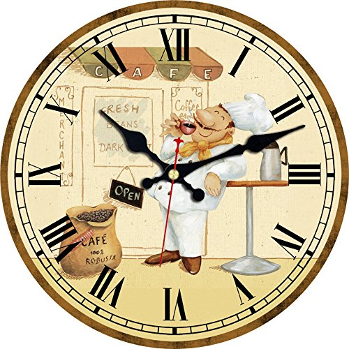 - ShuaXin Bakers Print on Paper Cover Wall Clocks, Slient Round Wall Decorative Art in Bakery, Kitchen and Cafe Decorations (14