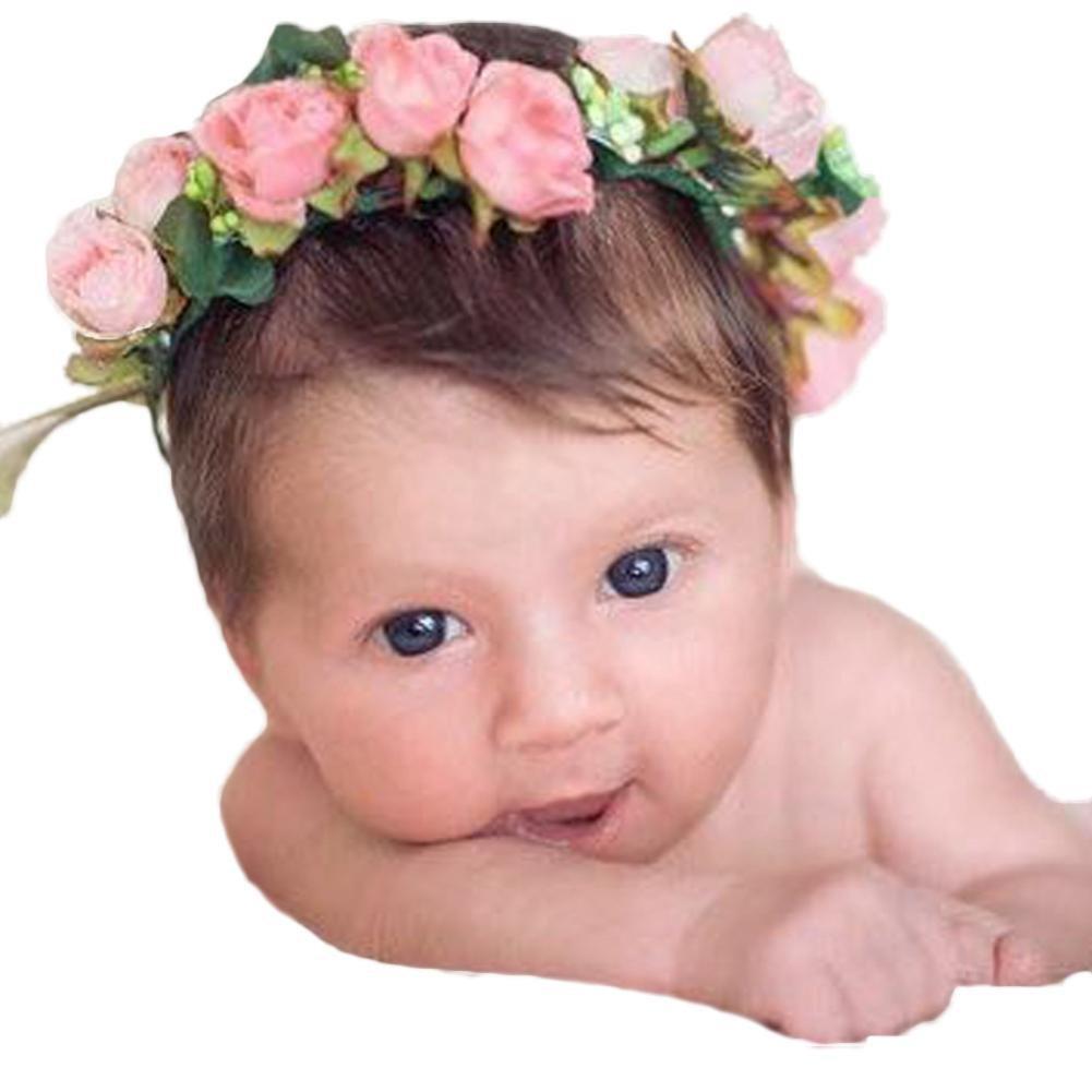Sunfei Fashion Baby Kids Handmade Rose Flower Headband Hairband Wreath Headdress Band Accessories (Pink)