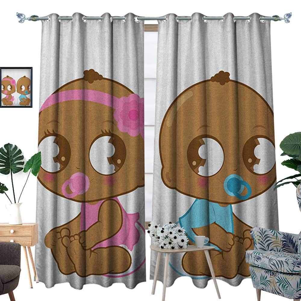 Warm Family Gender Reveal Window Curtain Fabric Cute African American Baby Girl Boy in Diaper Kids Print Drapes for Living Room W120 x L84 Sky Blue Pink and Pale Brown