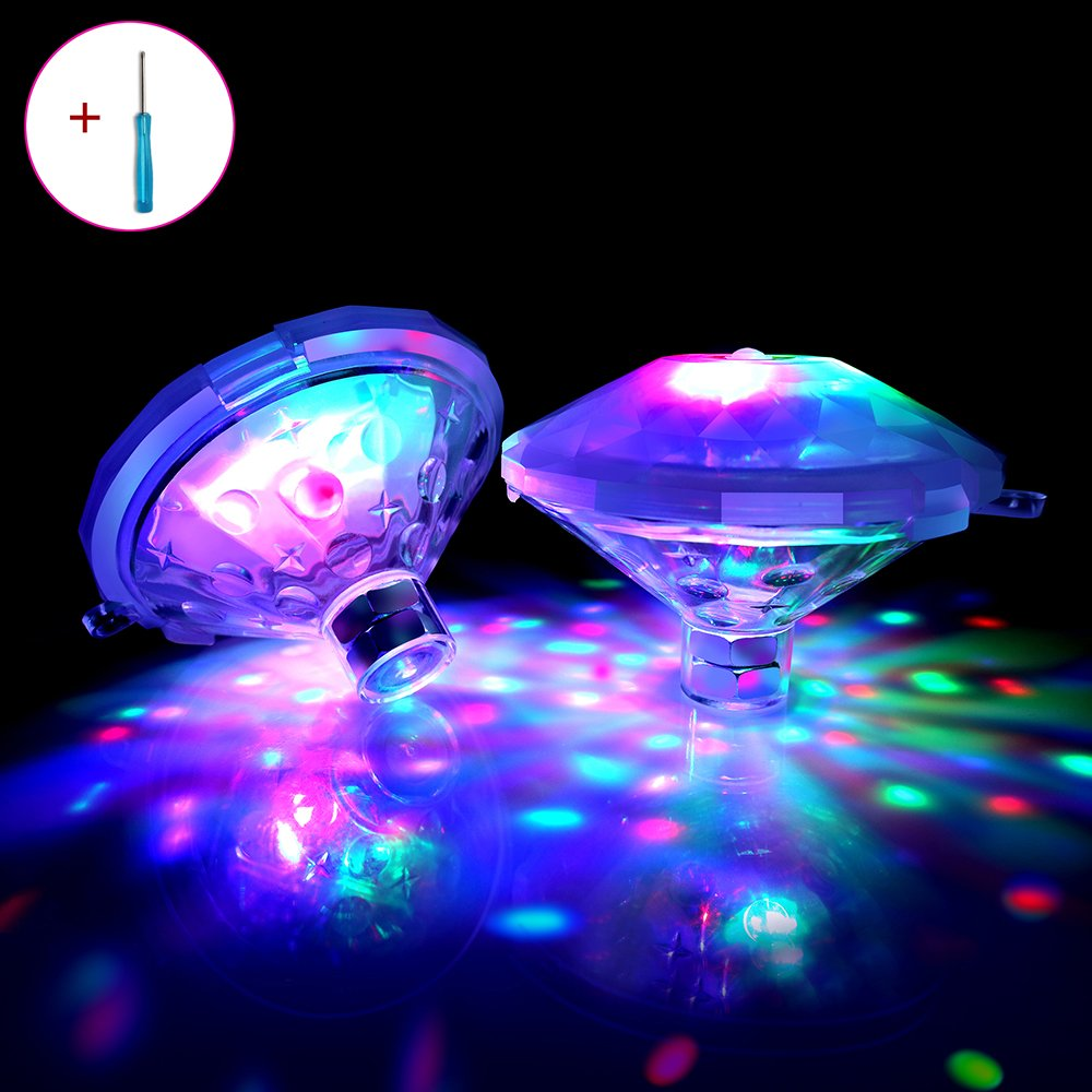 Ebay Pool Lights Floating LED Lights Waterproof Multicolor Swimming Pool Lights with Screw Driver for Baby Bath Tub, Pond, Aquarium, Party, Weeding, Home Decoration, Halloween(2-Pack) by Efay