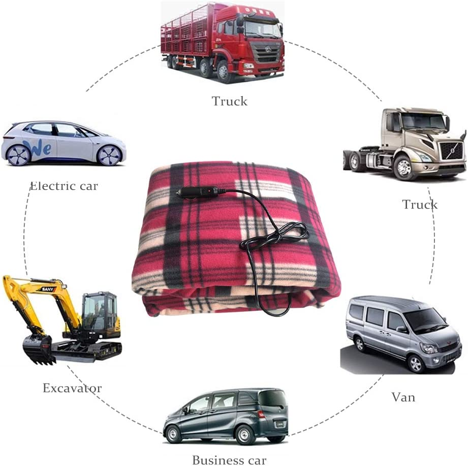 Adounav Car Electric Heating Blanket 12V for Car Truck Boats or RV with High Low Temp Control Cold Weather Warm Your Body blackredgrid 1 Pack