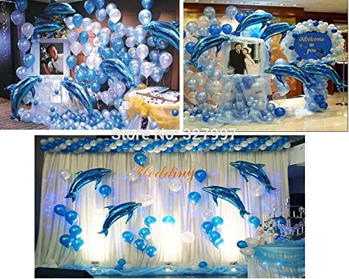 10P Large Pink Dolphin Foil Helium Balloon Birthday Party Wedding Decoration Supplies Kids Gift Favourite Toy (Blue)