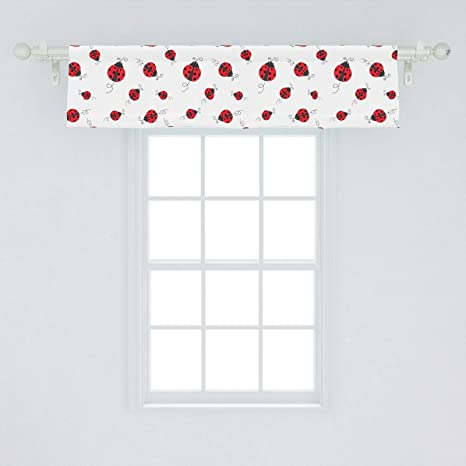 Ambesonne Ladybugs Window Valance Ladybug Dotted Wings Swirls And Curves Pattern Animal Curtain Valance For Kitchen Bedroom Decor With Rod Pocket 54 X 12 White Black Home Kitchen