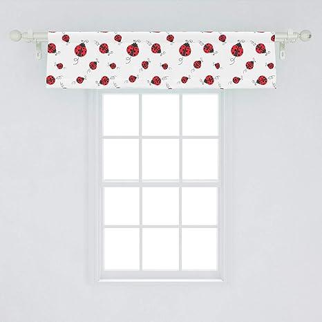 Amazon Com Ambesonne Ladybugs Window Valance Ladybug Dotted Wings Swirls And Curves Pattern Animal Curtain Valance For Kitchen Bedroom Decor With Rod Pocket 54 X 12 White Black Home Kitchen