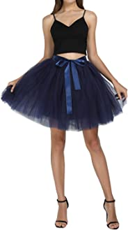 FEOYA Women Tutu Skirts 7 Layered Short Tulle Skirt A-line Pleated Princess Skirts High Waist Mesh Skirt for Prom Party