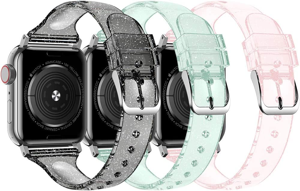 Baozai Compatible with Slim Apple Watch Band 38mm 40mm, Soft Silicone Thin Glitter Sports Band for Apple iWatch Series 5, Series 4, Series 3/2/1 Women (G 3 Pack-Black/Green/Pink, 38/40mm)