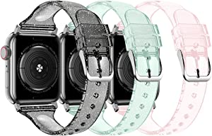 baozai Compatible with Apple Watch Band 38mm 40mm 42mm 44mm, Glitter Clear Soft Slim Thin Narrow Silicone Band for iWatch SE Series 6 Series 5/4/3/2/1 Women (G 3 Pack-Black/Green/Pink, 38/40mm)