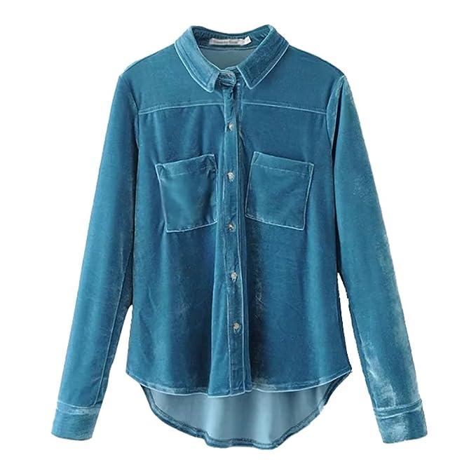 NiSeng Mujer Camisa Terciopelo Manga Larga Camisetas Casual Retro Dos Bolsillos Abotonar T-Shirt Lago