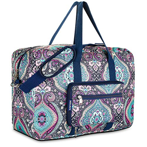 Travel Foldable Waterproof Duffel Bag - Lightweight Carry Storage Luggage Tote Duffel Bag. (Green Floral)