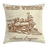 Steam Engine Throw Pillow Cushion Cover, Old Times Train Vintage Hand Drawn Iron Industrial Era Locomotive, Decorative Square Accent Pillow Case, Ivory Pale Caramel