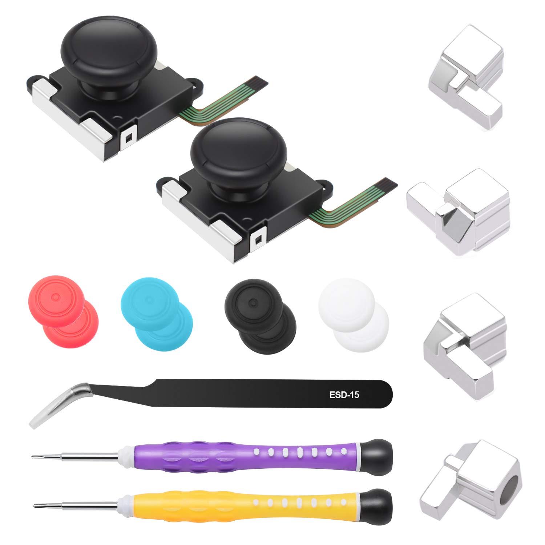YUANHOT Joy-Con Repair Tool Kit for Nintendo Switch Joy-Cons Controller, Including 2pcs 3D Analog Joystick Thumb Sticks, Screwdrivers, Tweezer, 4 Metal Lock Buckles and 8 Thumbstick Caps (Black) by YUANHOT
