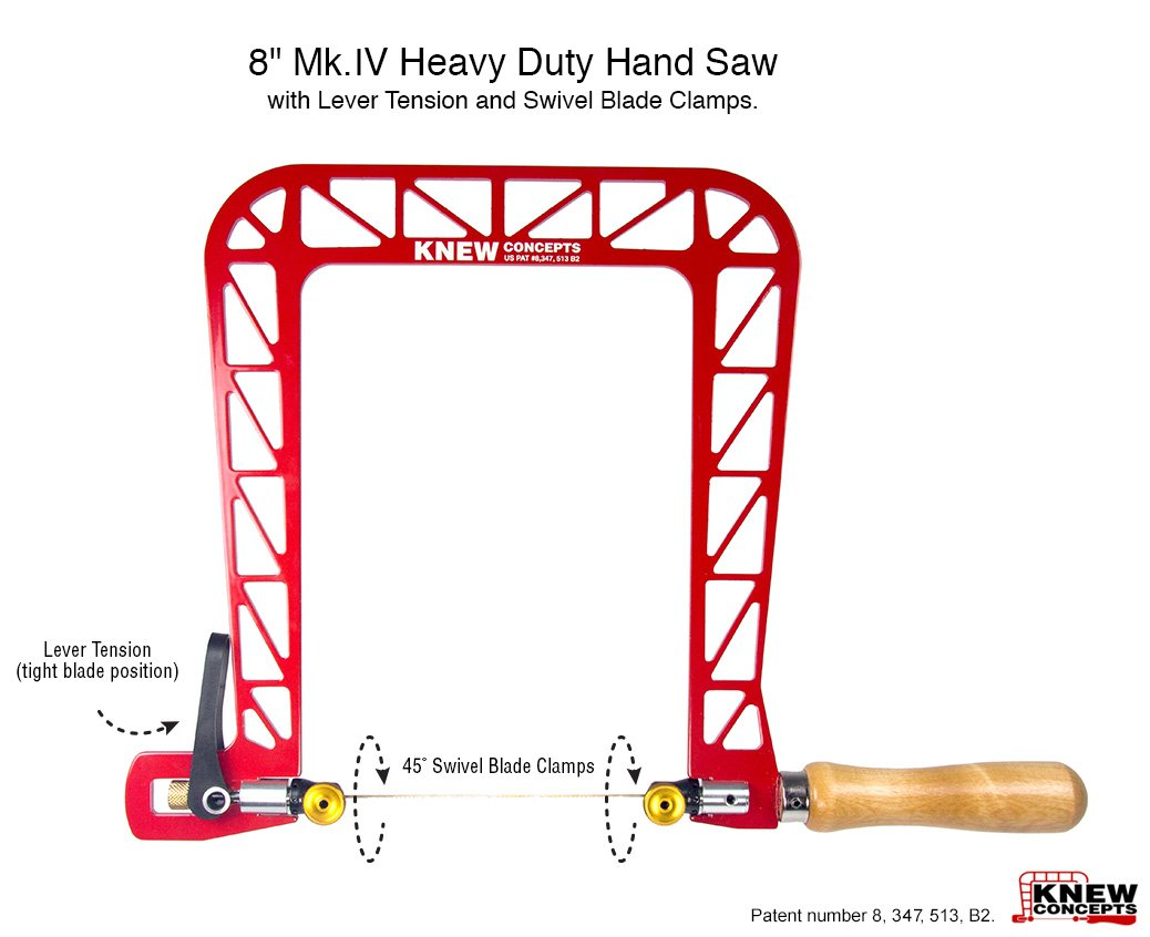 Knew Concepts 8'' Mk.IV Heavy Duty Hand Saw with Lever Tension and Swivel Blade Clamps