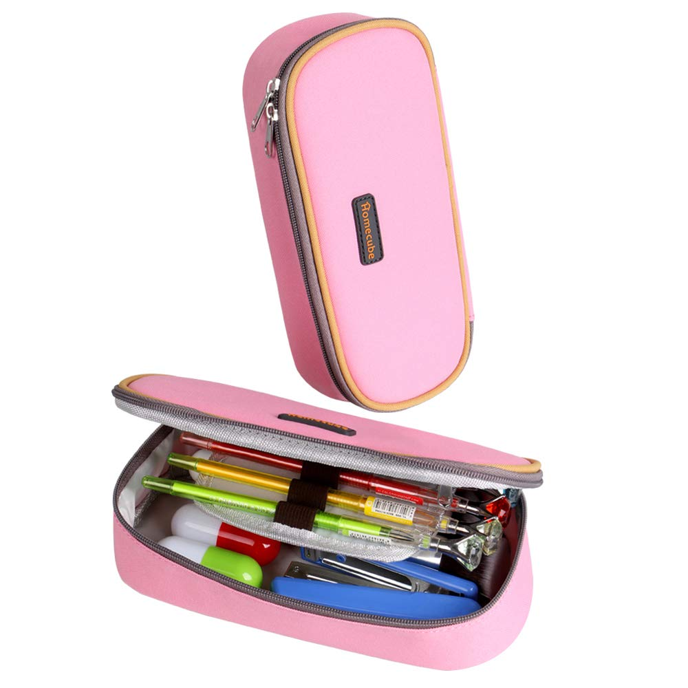 Pencil Case, Homecube Big Capacity Pen Bag Makeup Pouch Durable Students Stationery With Double Zipper, Pink BC22953