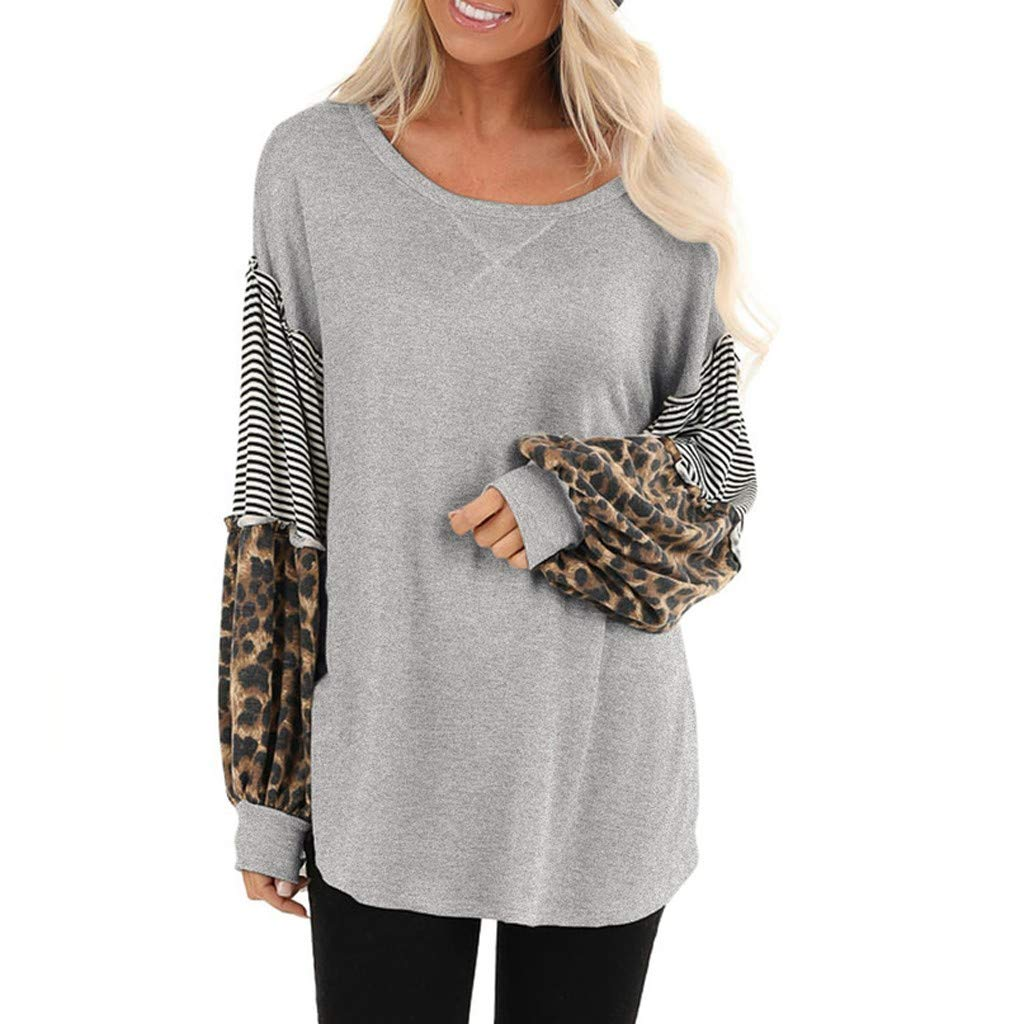 QIUUE Women Leopard Print Sweatshirt Bubble Sleeve Splicing Striped Tees Casual Round Neck Tops Patchwork Pullovers Gray by QIUUE