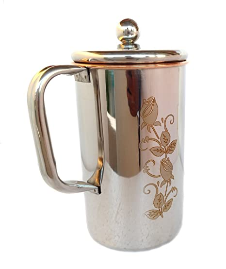 DN CREATION Pure Copper Jug Water Pitcher Flower Print Outside Stainless Steel Utensils Inside Copper for Ayurveda Healing - Capacity 2. 25 LTR. Approx (Print May Very) Glassware & Drinkware at amazon