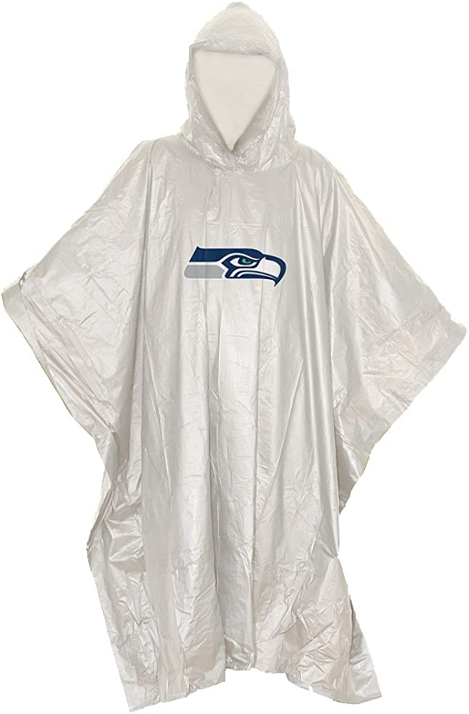 """NFL Seattle Seahawks Lightweight Poncho, 44"""" x 49"""" : Clothing"""