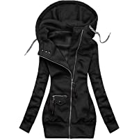 EOPUING Women's Turtleneck Hoodie Jackets,Casual Floral Pattern Hooded Pullover Zip Up Drawstring Sweatshirt Coat with…