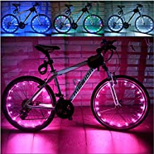 Baiyu USB Rechargeable Bike Bicycle Spoke Lights Waterproof 2 Modes Cycling Wheel Tire Lights Steel Wire rim 20 LED Flash Light / Lamp Bike Accessory (Including batteries) -- Pink