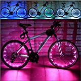 Cheap Happy Hours® Waterproof 20 LED Bike Wheel Light String Safety Flash LED Strip Lamp for Night Riding Cycling Bicycle Spoke Fun Tire Light Working with 3AA Batteries,Pink