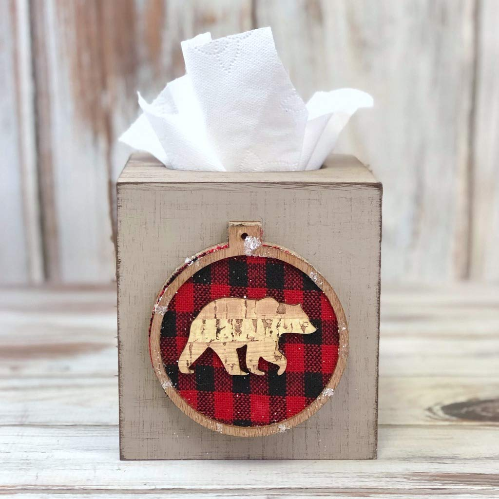 Christmas Kleenex Tissue Cover Farmhouse Style Decor Rustic Christmas Bathroom Decor Buffalo Check Tissue Box Cover Farmhouse Wood Tissue Box Cover