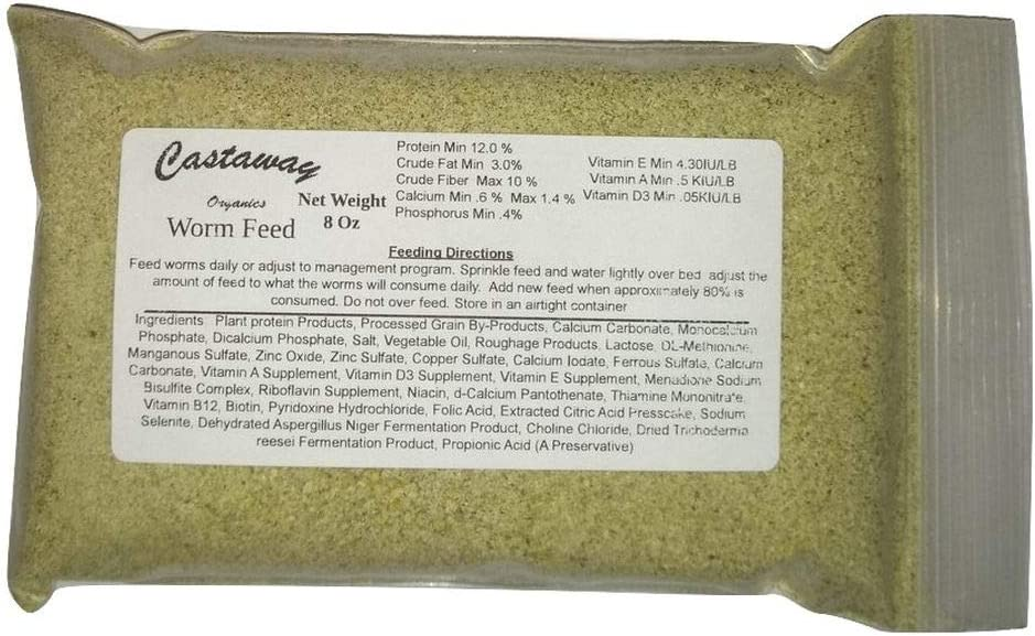Castaway Organics Worm Feed (Worm Chow, Food for All Composting Worms and Bait Worms) (1/2 lb)