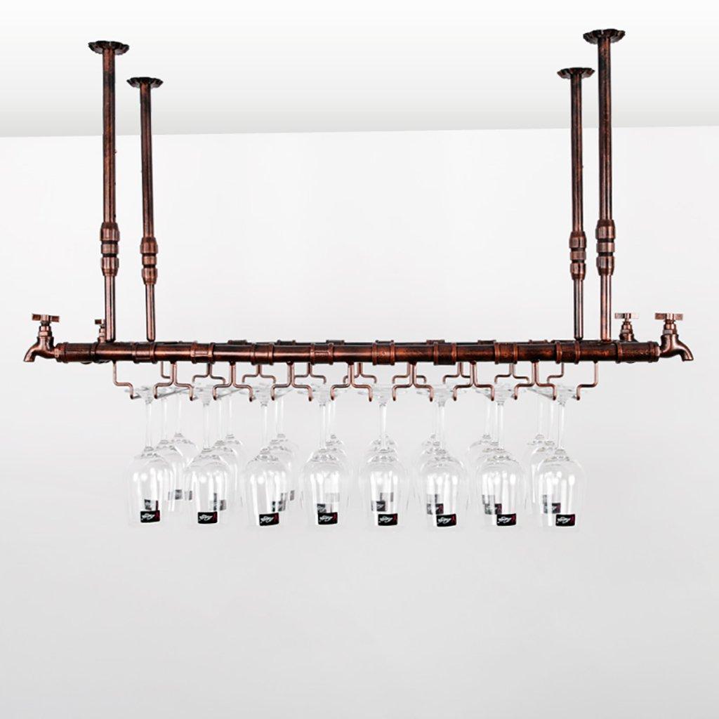 Color : Bronce, Tamaño : 102 * 31cm Cabinets L cuelga Vino Estante de Cristal Retro suspensión Colgante sostenedor de Taza Arte de Hierro Colgante stemware Rack