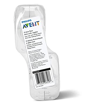 Philips Avent Slow Flow Nipple, 4pk, SCF422/47, Clear (Color: Clear)
