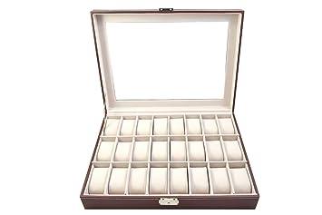 Katia beni Caja Organizador de Relojes / Estuche de Joyas / Neceser para Collar Pulsera Material Cuero Sintético (Marrón, 24): Amazon.es: Bricolaje y ...
