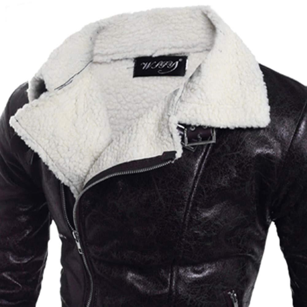 aliveGOT Mens Shearling Sheepskin Bomber Lapel Leather Flying Aviator Jacket
