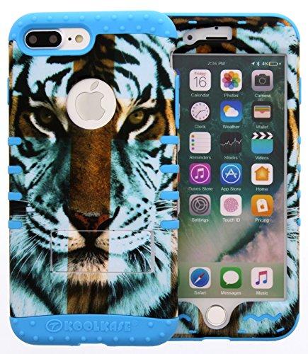 iPhone 7 Plus Case, Hybrid Tough Shockproof Slim Impact Armor Kickstand Cross Tiger Animal Cover Over Skin for iphone 7 Plus (tiger/l blue) (Skull Cross Pink Flowers)