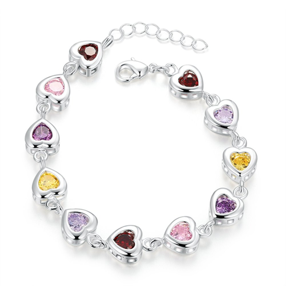 Womens Colorful Cubic Zirconia Heart-Shaped Silver Plated Bracelet Matthew L Garcia