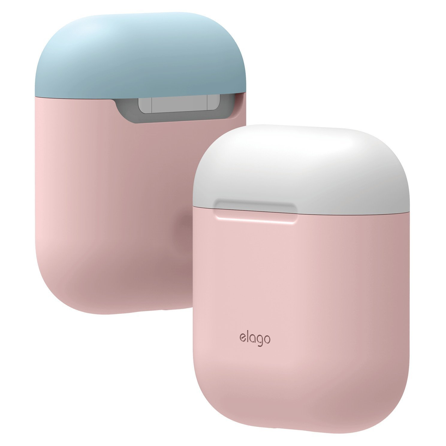 - LED anteriore Non Visibile elago Custodia Doppia Compatibile con Apple AirPods 1 /& 2 Funziona la Ricarica Wireless - Con Due Cappucci Colorati Diversi Lavanda//Blu pastello, Rosa