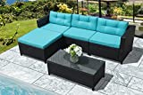 Super Patio Outdoor Patio Furniture Set, 5pc Outdoor PE Wicker Rattan Sectional Furniture Set with Blue Seat and Back Cushions, Steel Frame, Black For Sale