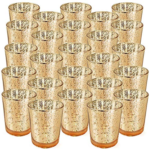 Just Artifacts 2.75-Inch Speckled Mercury Glass Votive Candle Holders (25pcs)