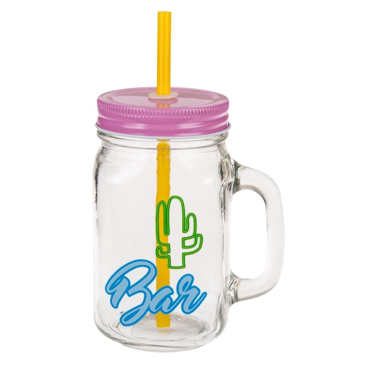 Palmen Kaktus Martini-Glas Trinkgl/äser Retro Summer mit Deckel und Strohhalm Bieten Schutz vor Insekten. 4 Motive//Farbkombinationen: Flamingo 450 ml Ma/ße je Glas: 13,5 x 7 x 7 cm 6er-Set