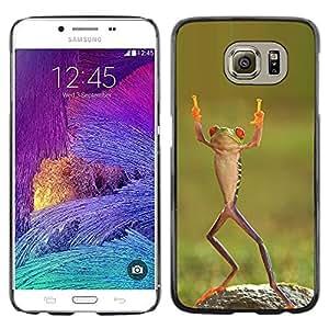 Be Good Phone Accessory // Dura Cáscara cubierta Protectora Caso Carcasa Funda de Protección para Samsung Galaxy S6 SM-G920 // frog happy dancing tropical green ninja
