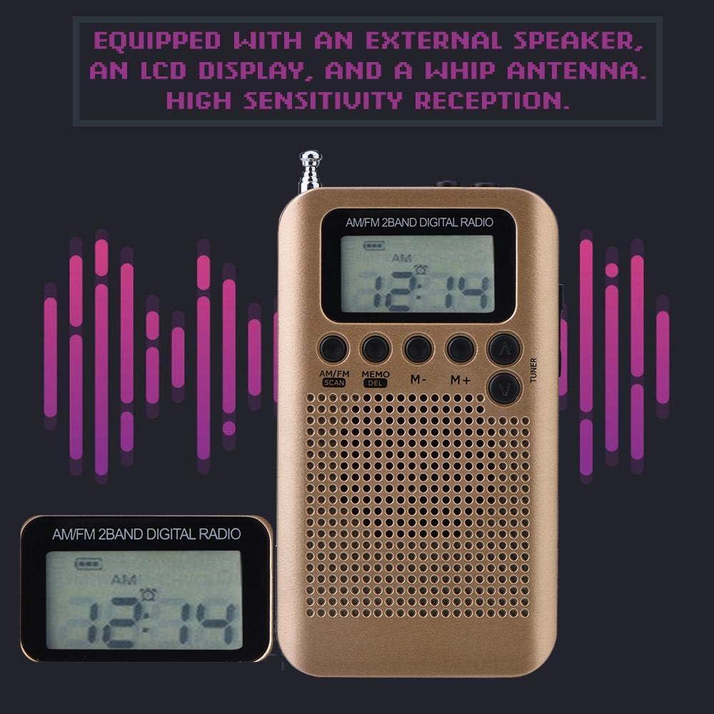Gold Zerone Portable Mini Radio AM FM Digital Receiver 2 Band 8UV Stereo Radio Digital Tuning Decoding Radio Pocket Radio