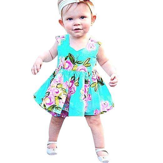 eba7c515346bd Moonker Girls Dresses,Infant Baby Toddler Girls Summer Floral Print  Sundress Clothes Princess Dress 0