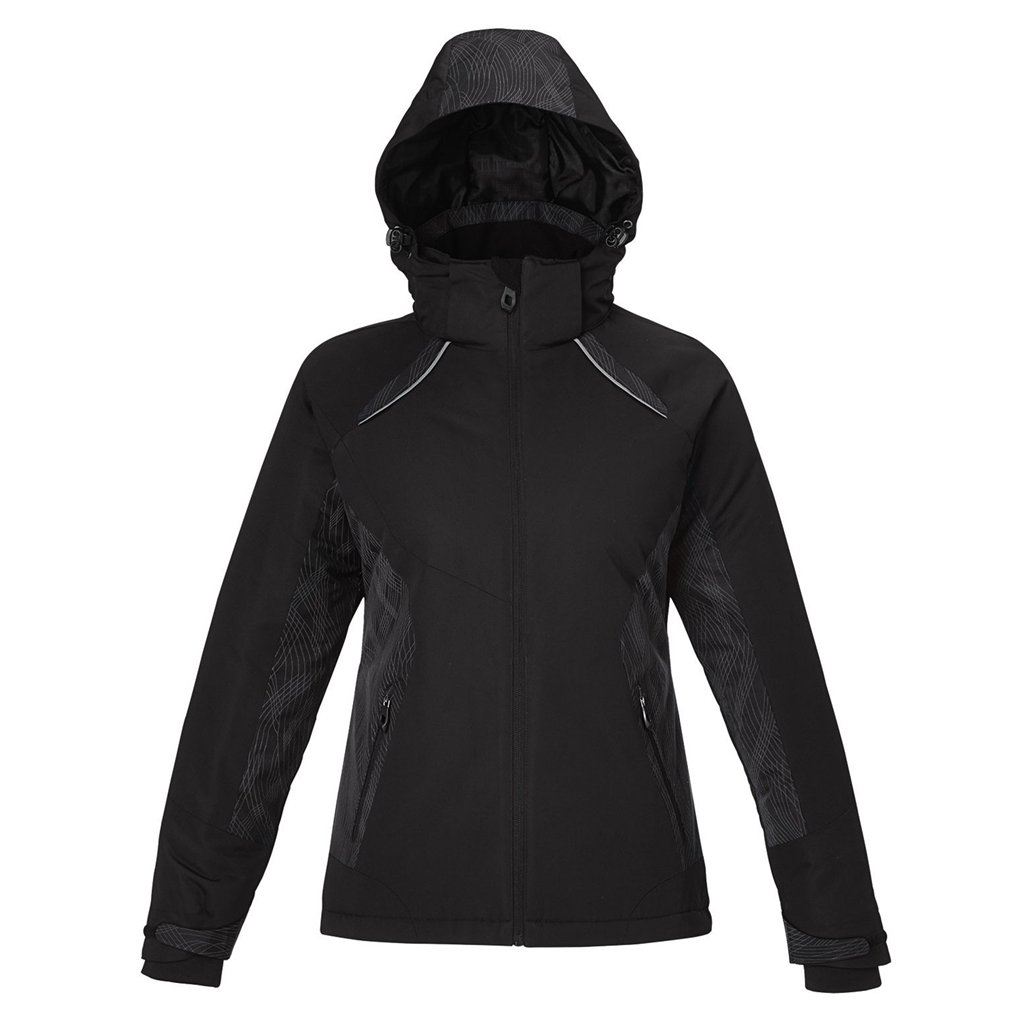 Ash City Ladies Linear Insulated Jacket (X-Small, Black)
