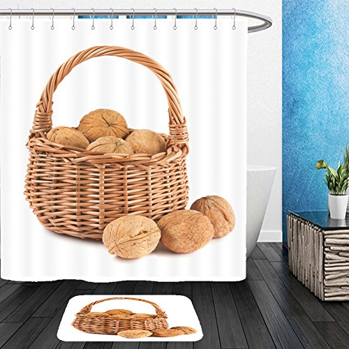 Vanfan Bathroom 2Suits 1 Shower Curtains & 1 Floor Mats wicker basket with walnuts isolated on a white background 86987186 From Bath room