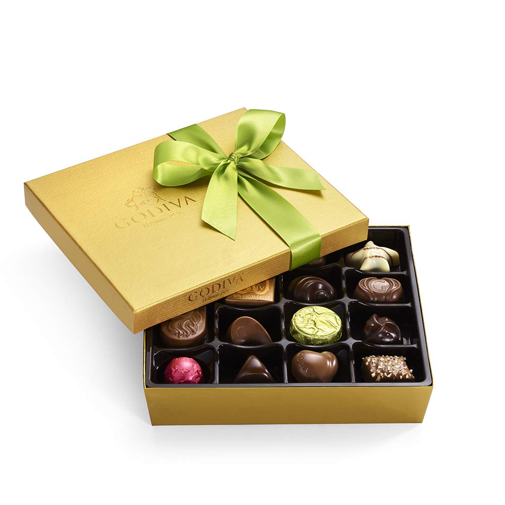 Godiva Chocolatier Spring Gold Ballotin with Green Ribbon, Gourmet Chocolate, Gifts for Her, Great as a Gift, Assorted Chocolates, 19 pc