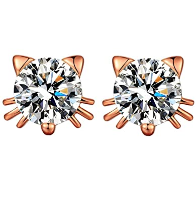 fd6b0698a SiBeXu 18k White Gold Plated Swarovski Crystal Zircon Mini Cute Lovely Cat  Earrings Stud Graduation Gift