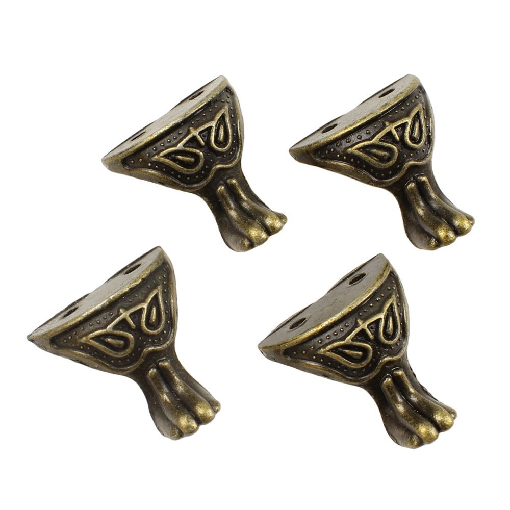 RZDEAL 4Pcs Antique Brass Box Legs Feet Corner Protector Decorative Jewelry Gift Box Wood Case Vintage(1.14'' x 1.06'')