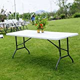 6' Folding Table Portable Picnic Party Dining Camping Plastic Tables for Indoor & Outdoor, Brand New and, Legs Can be Locked Into a Fixed Position for Stability, Durable Nylon