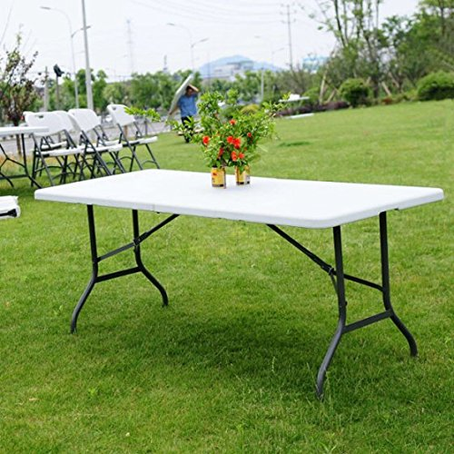 6' Folding Table Portable Picnic Party Dining Camping Plastic Tables for Indoor & Outdoor, Brand New and, Legs Can be Locked Into a Fixed Position for Stability, Durable (Oak Plastic Folding Table)