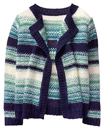 Gymboree Girls' Little Stripe Blanket Sweater, Blue, M -