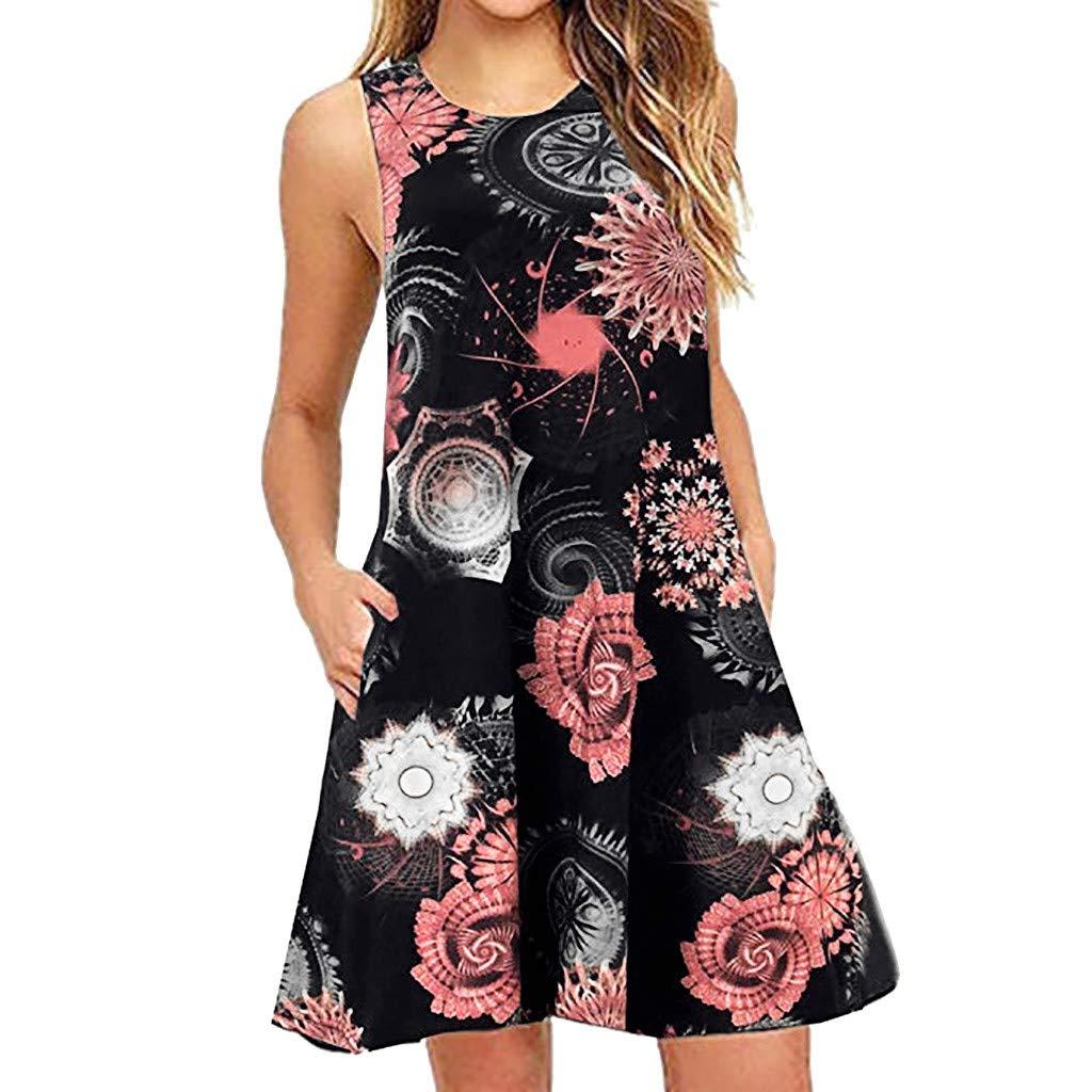 QingJiu Frauen Sommer BeiläUfiges äRmelloses Mit Blumen Gedrucktes Swing Kleid Sommerkleid Tasche