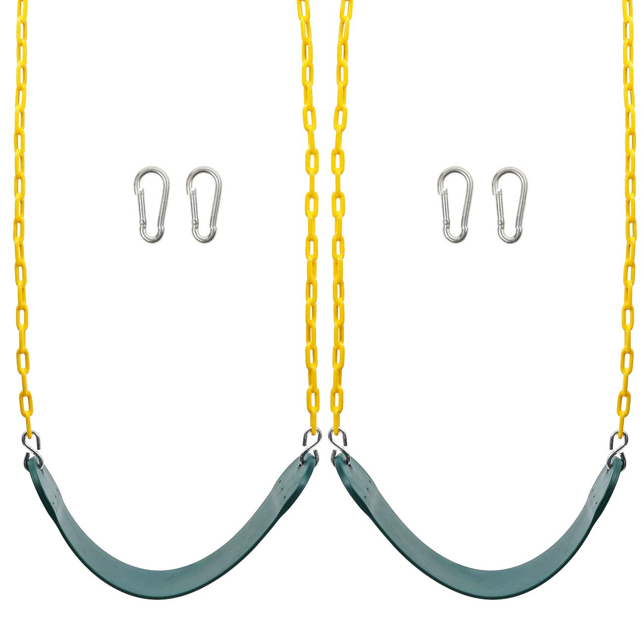 Sunnyglade 2PCS Swings Seats Heavy Duty with 66'' Chain Plastic Coated, Playground Swing Set Accessories Replacement with Snap Hooks, Support 250lb by Sunnyglade